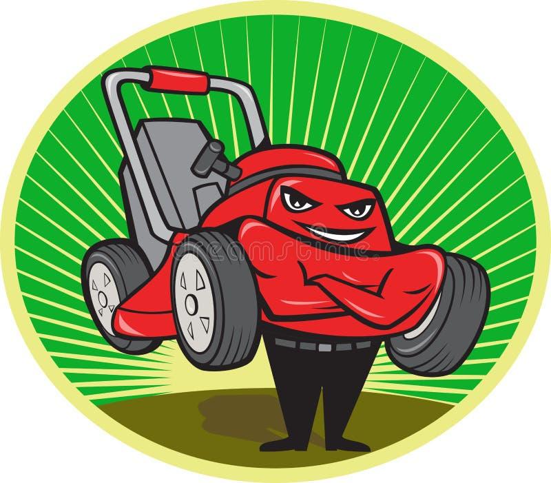 Oval dos desenhos animados do homem da segadeira de gramado ilustração do vetor