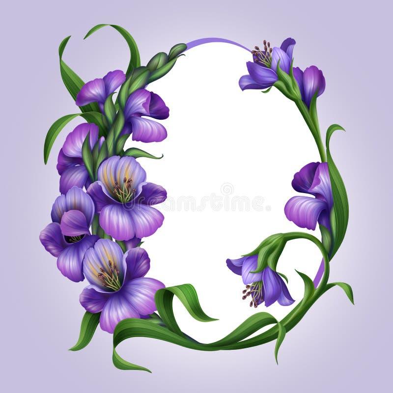 Beautiful lilac spring flowers. Easter egg frame stock illustration