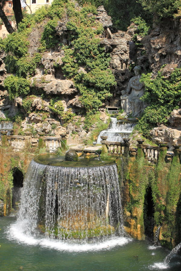 Oval Fountain in Villa dEste royalty free stock image