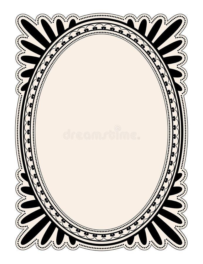 Oval frame. Elegant oval frame with decorative filigree; illustration royalty free illustration