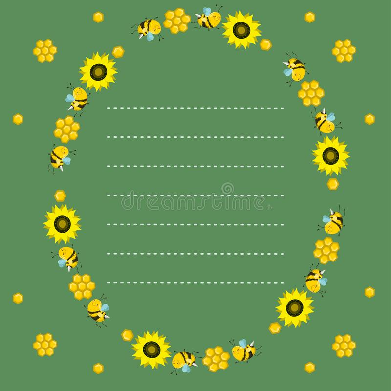 Oval frame with bees, honeycombs and sunflowers on a green background. Dotted line, place for text. Vector blank stock illustration