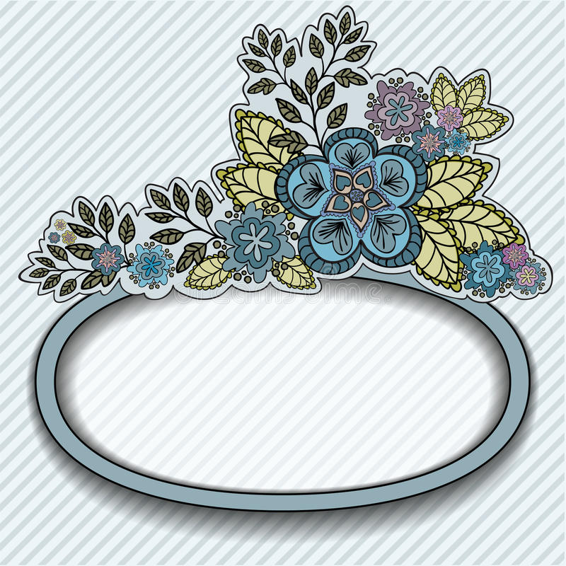 Oval frame with blue flowers. Gray striped background with a beautiful bouquet and an oval frame stock illustration