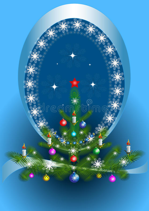 Download Oval Frame With The Christmas Tree On Blue Background Stock Vector - Image: 25113715