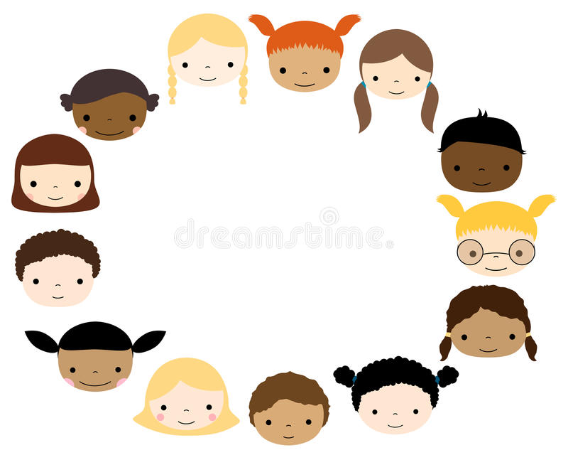 Oval frame with cute kids faces royalty free illustration