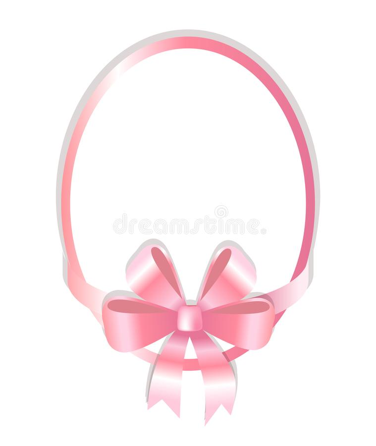 Oval Frame Decorated Pink Bow Vector Illustration. Oval frame decorated by pink bow vector illustration isolated on white background. Simple border decorative stock illustration