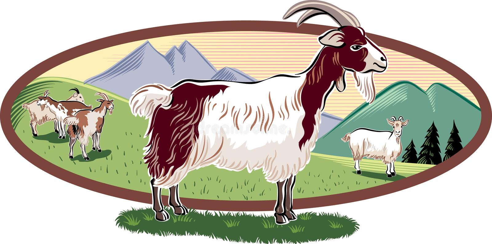 Oval frame with goats grazing. Oval frame with mountain landscape and goats grazing vector illustration