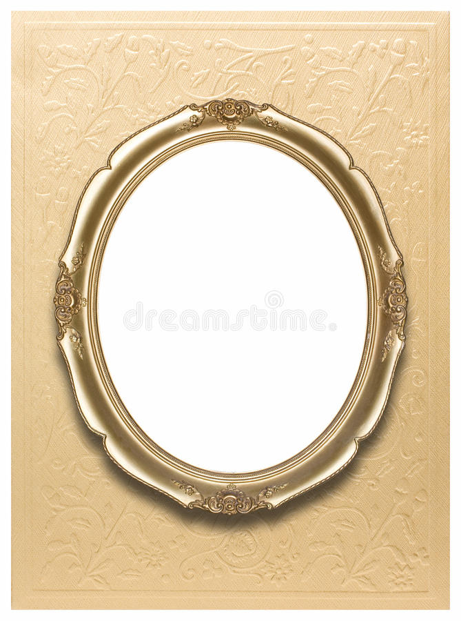 Oval frame on golden wallpaper stock images