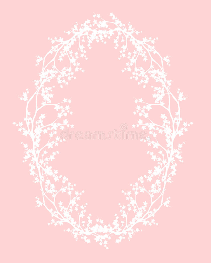 Oval frame made of sakura branches with flowers vector design royalty free illustration