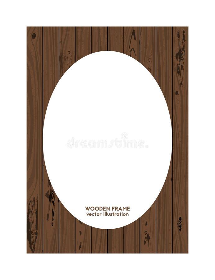 Oval frame made of wood. Vector illustration. Wooden texture vector illustration