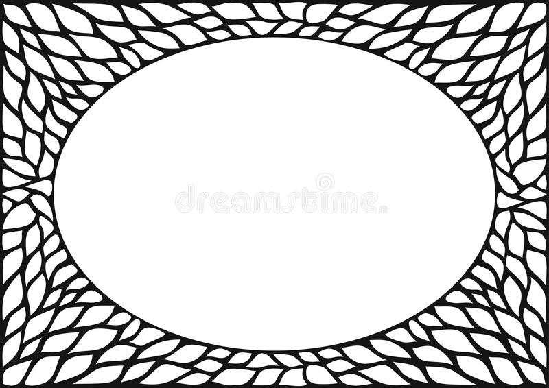 Oval frame with natural texture. Oval cover frame with natural plant texture. Skeleton. Vintage black and white photo frame background. Vector figure for laser royalty free illustration