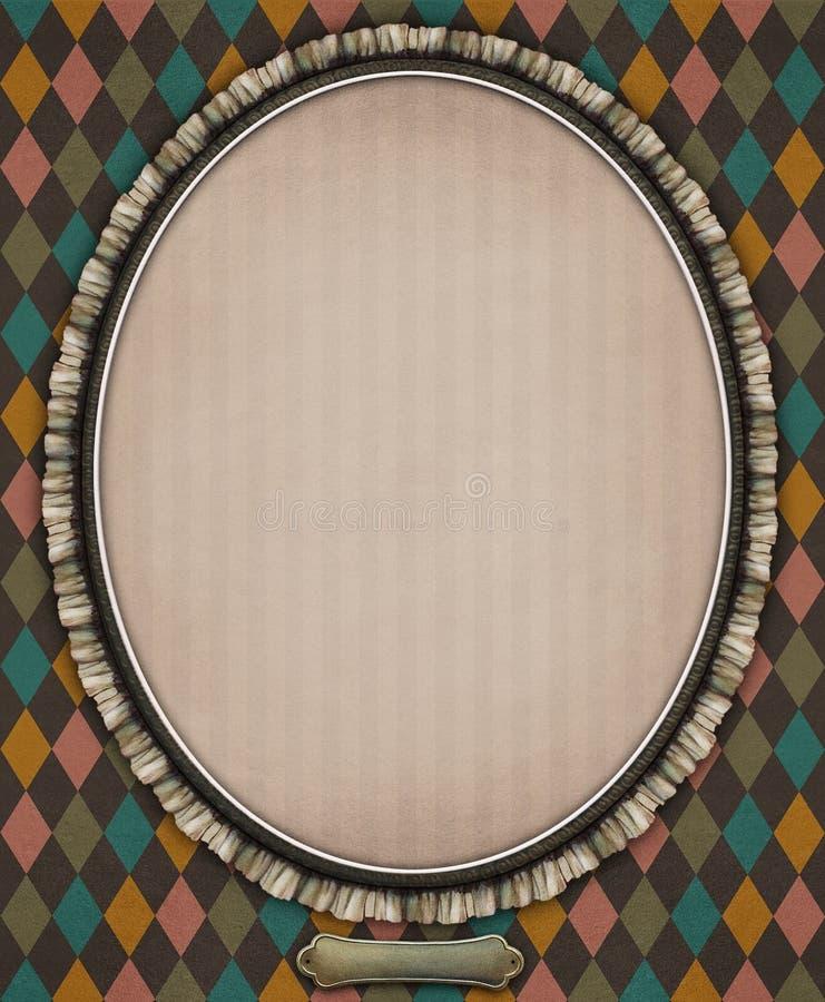 Oval with frame. Vintage oval frame of lace. Ð¡omputer graphics stock illustration