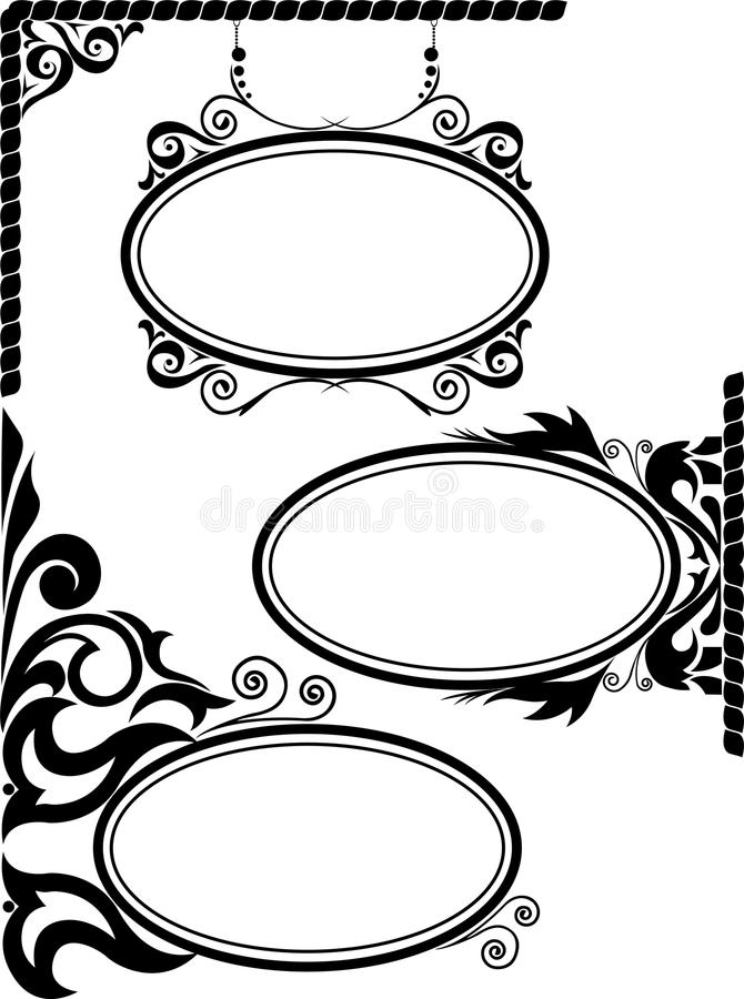Oval frames. Set of three black silhouettes of oval frames vector illustration