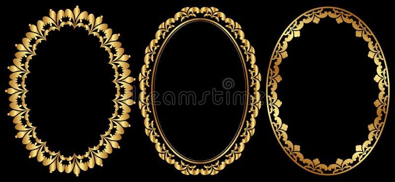 Oval frames. Set of gold oval frames stock illustration