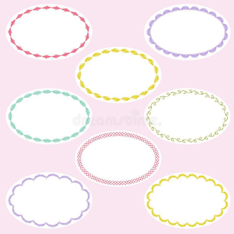 Oval gestickte Rahmen vektor abbildung. Illustration von stickerei ...