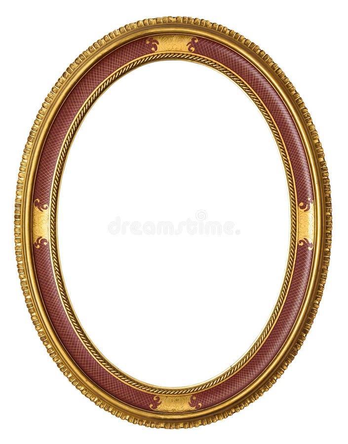 Oval guld- dekorativ bildram royaltyfria bilder