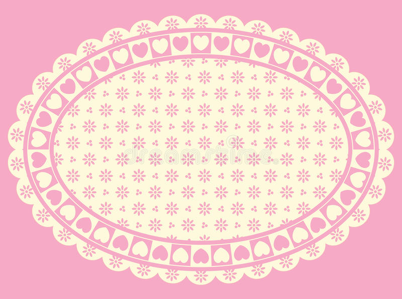 Oval Heart Border with Victorian Eyelet Copy Space royalty free stock images