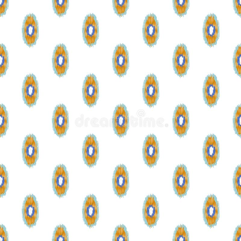 Oval ikat shapes seamless background. Vector illustration. Blue and orange abstract texture pattern stock illustration