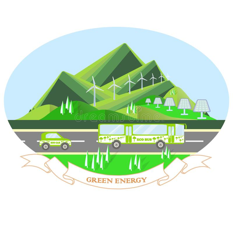 Oval illustration Green energy with mountain landscape, grey road, eco bus, eco car stock illustration