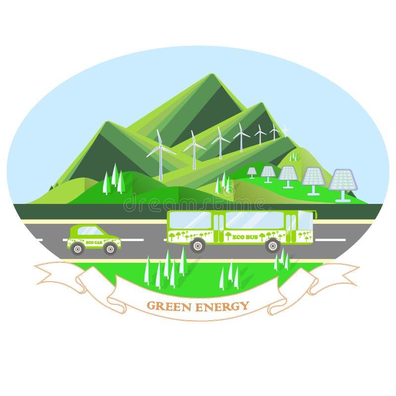 Oval illustration Green energy with mountain landscape, grey road, eco bus, eco car. Sunny batchery, windmills, blue sky. Modern flat design, design elements stock illustration