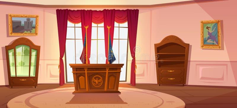 Oval kabinet interior, president van de Amerikaanse werkplek stock illustratie