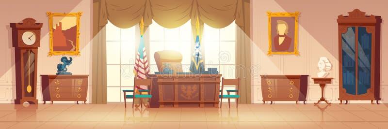Oval kabinett inre tecknad filmvektor för presidenter royaltyfri illustrationer