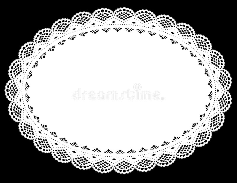 Oval Lace Doily Place Mat. Decorative oval lace doily place mat for decorating, sewing, celebrations, arts, crafts, cake decorating and setting table. Copy space stock illustration