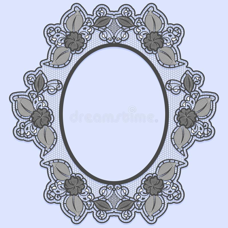Oval lace frame on blue background. Black openwork with flowers. vector illustration