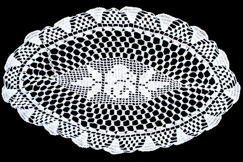 Download Oval Lace Tablecloth Isolated On Black Background, Floral Pattern  Stock Image   Image Of