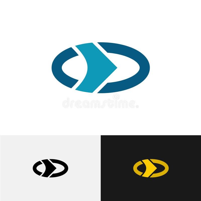 Oval logo med den yttre cirkeln och den högra pilen inom stock illustrationer