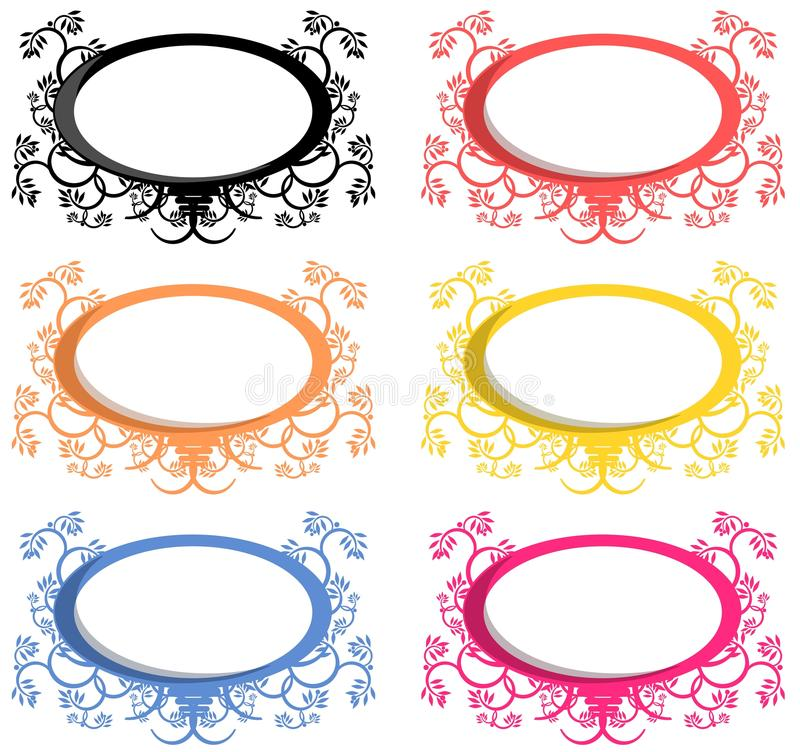 Oval logo. Set of oval logo decorated with floral fantasy in six different tones of color royalty free illustration