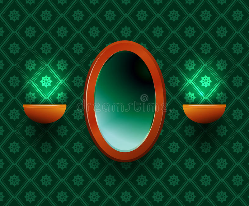 Oval mirror. Oval mirror with two lamps at the sides on a green background stock illustration