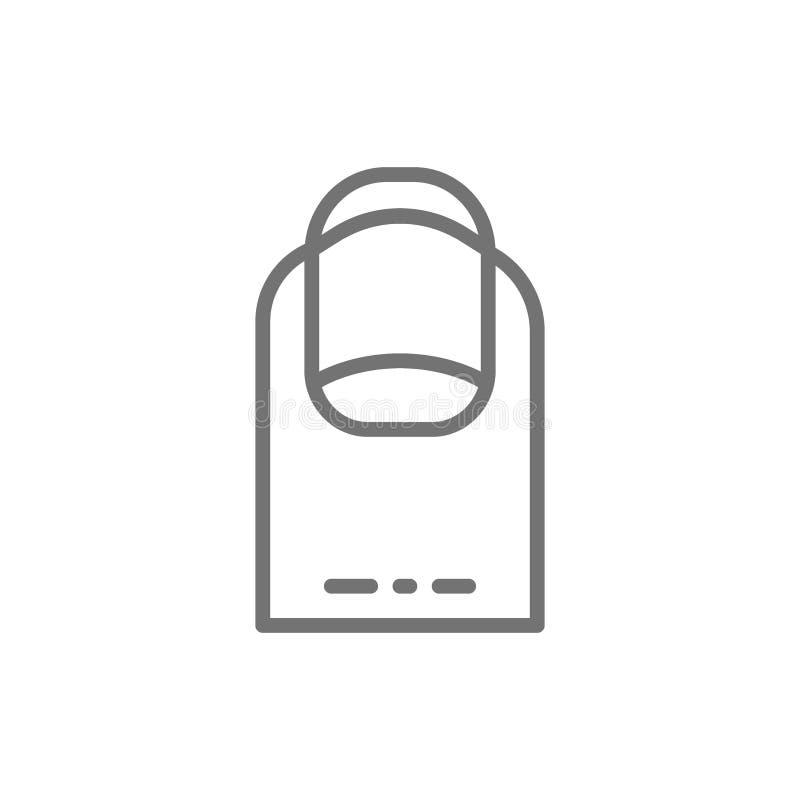 Oval nail shape, manicure salon line icon. stock illustration