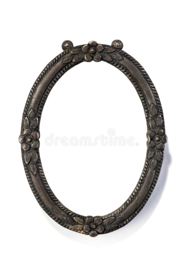 Oval picture frame. Over white stock image