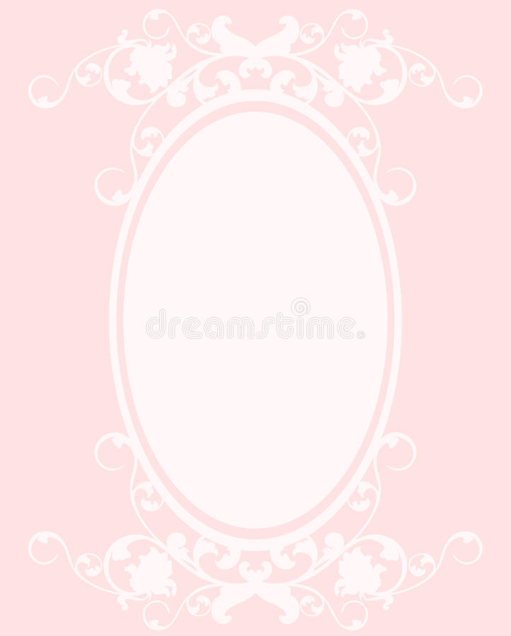 Oval pink frame. Oval frame decorative floral design - pink and white vector composition stock illustration