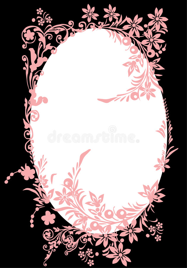 Free Oval Pink Frame With Curles On Black Royalty Free Stock Photo - 7855925