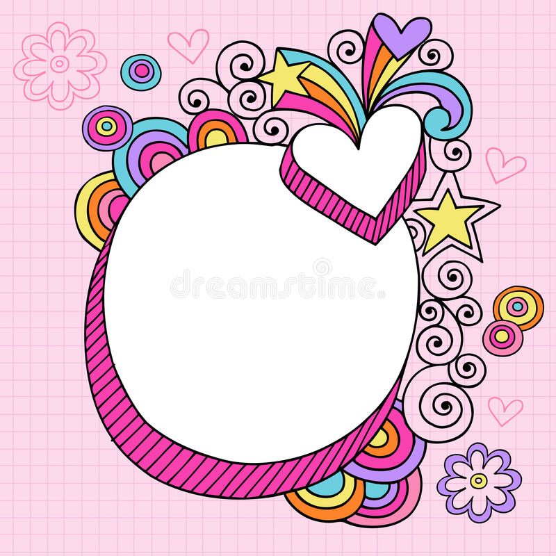 oval psychedelic vektor för klotteranteckningsbok royaltyfri illustrationer
