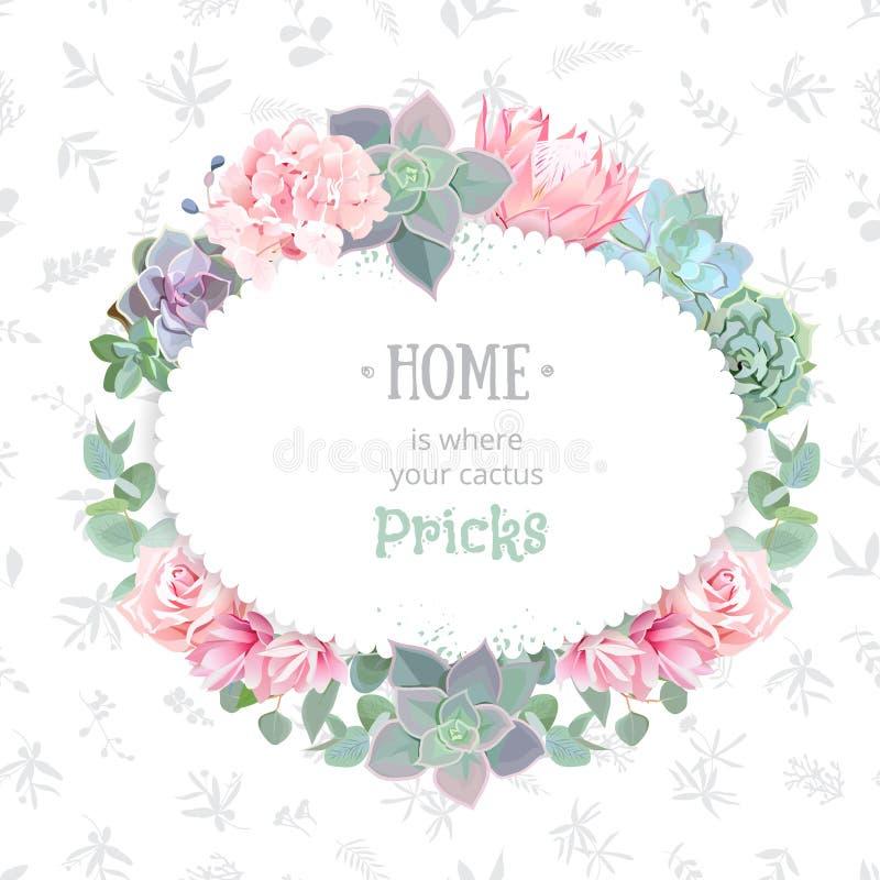 Oval ram för suckulentvektordesign Echeveria proteaen, eucaliptus, steg, vanliga hortensian stock illustrationer