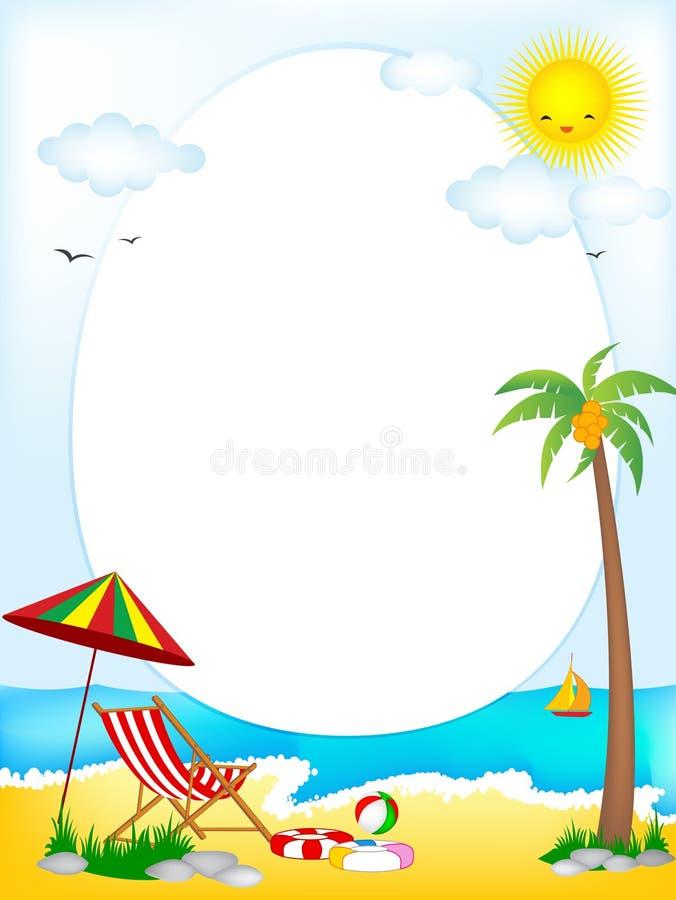 Oval ram för tropisk strand vektor illustrationer