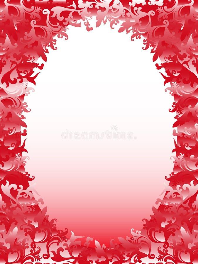 Oval ram med blom- beståndsdelar i rosa toner royaltyfri illustrationer