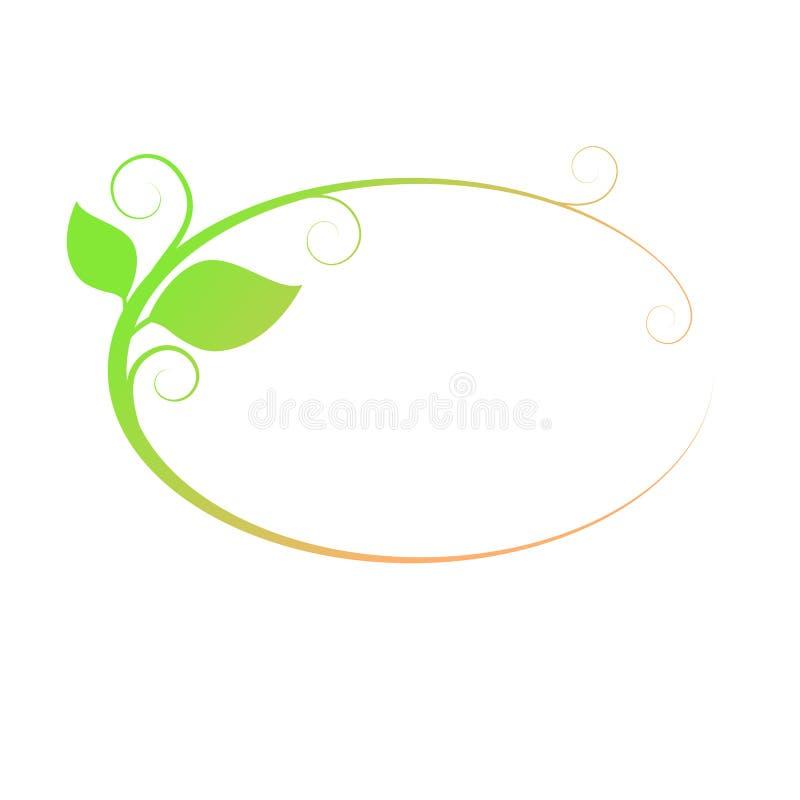 Oval ram med sidor green leaves placera text arkivfoto
