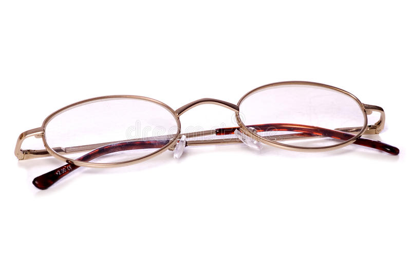 Oval reading glasses cutout stock photos