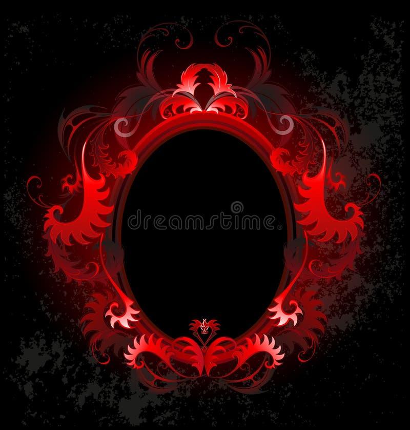Oval red banner. Patterned, red, oval banner on a black background vector illustration