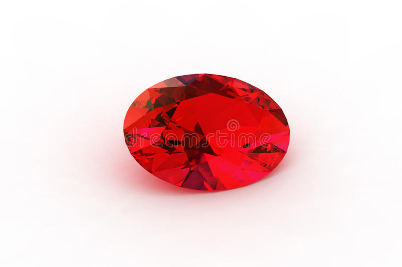 Oval Red Ruby - Photorealistic Ray Traced Render royalty free illustration