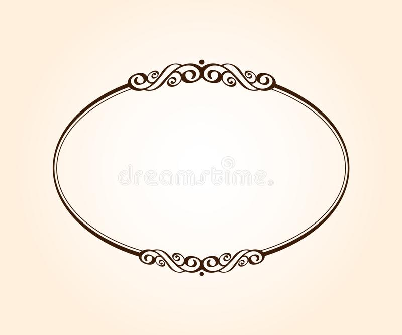 Oval retro frame with place for text.Vector illustration. vector illustration