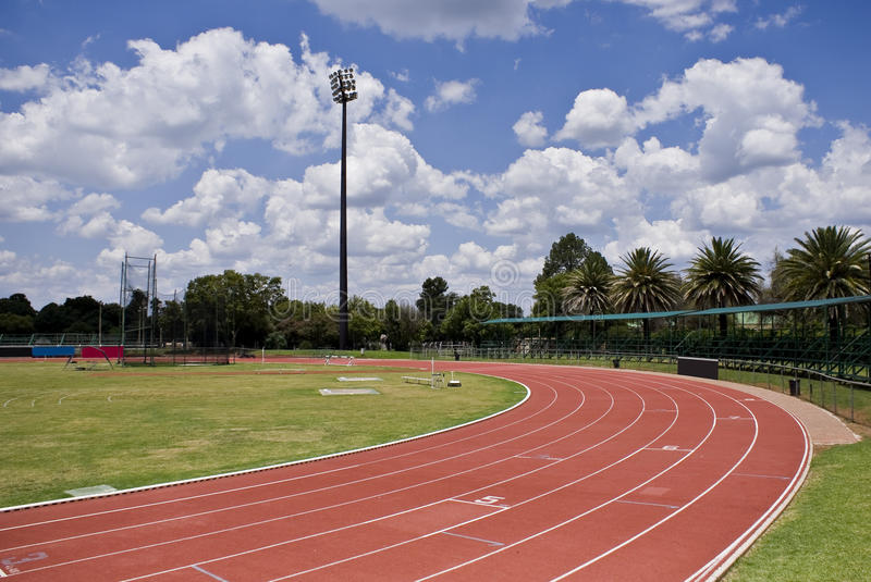 Oval Running Track. 1st curve of the oval running track. Track & filed sports arena royalty free stock images