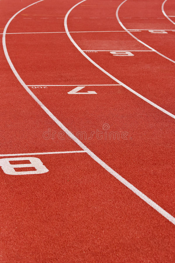 Oval Running Track. Curve of an oval running track. Track & filed sports arena stock photos