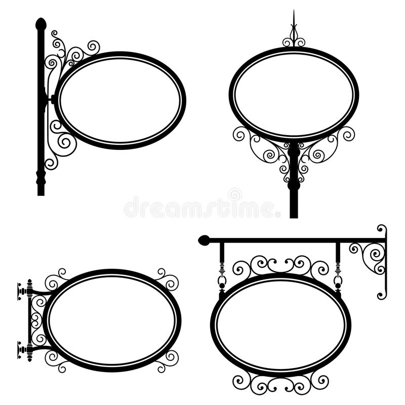 Oval Sign. Black and white wrought iron oval signs set