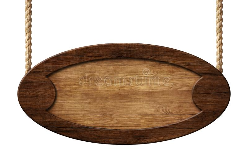 Oval signpost made of natural wood with dark brown wooden frame hanging on ropes. Empty oval signpost made of natural wood with dark brown wooden frame and royalty free illustration