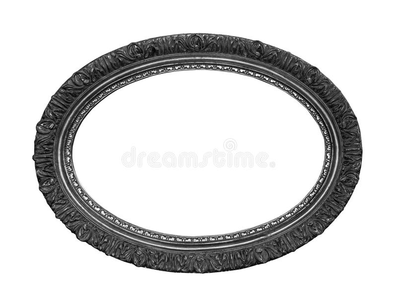 Oval silver frame stock images