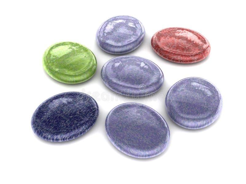 Oval sorterad hård söt godis för färg royaltyfri illustrationer